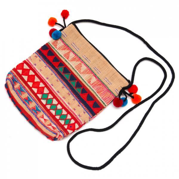 アカ族刺繍のふんわりコットンポーチ