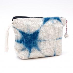 ルー族 手織りのインディゴ染め化粧ポーチ(マチ付)