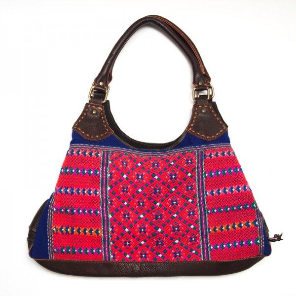 Rangmai カレン族の色鮮やかな刺繍×レザー(革)ショルダーバッグ