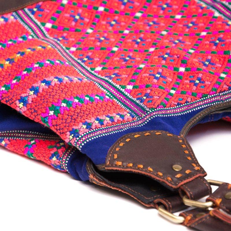 画像2:Rangmai カレン族の色鮮やかな刺繍×レザー(革)ショルダーバッグ