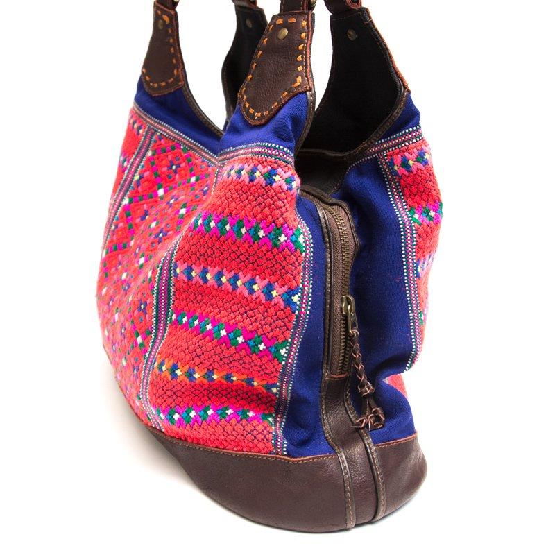 画像3:Rangmai カレン族の色鮮やかな刺繍×レザー(革)ショルダーバッグ