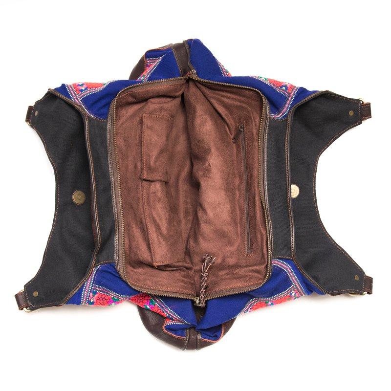 画像4:Rangmai カレン族の色鮮やかな刺繍×レザー(革)ショルダーバッグ