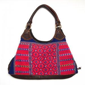 Rangmai カレン族の色鮮やかな手織り布×レザー(革)ショルダーバッグ