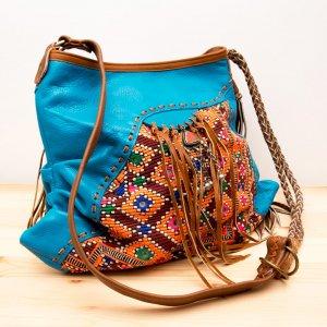 Rangmai インドのミラーワーク刺繍が美しいレザー(革)ショルダーバッグ