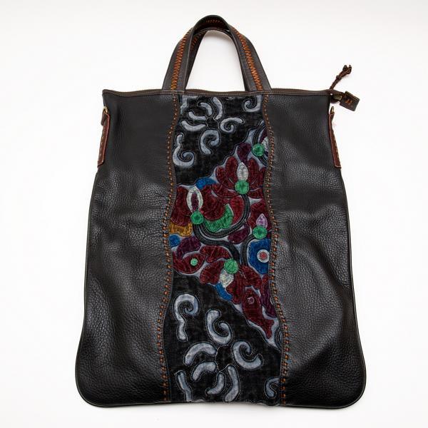 Rangmai アフガニスタン刺繍古布の防水レザー(革)2Wayバッグ