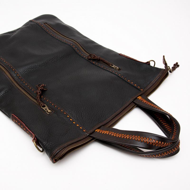 画像2:Rangmai アフガニスタン刺繍古布の防水レザー(革)2Wayバッグ
