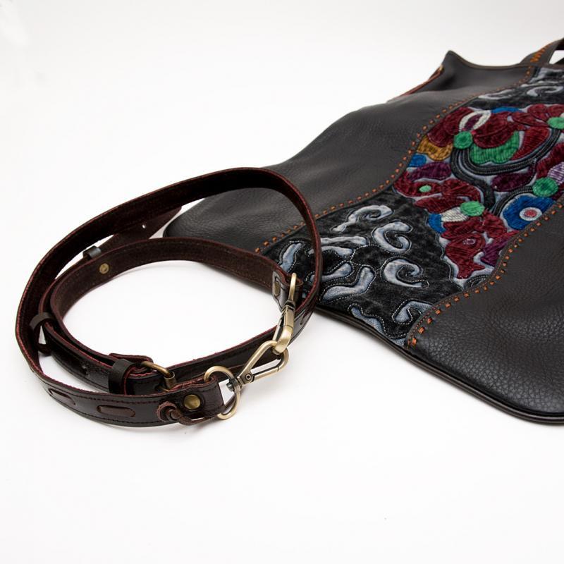 画像3:Rangmai アフガニスタン刺繍古布の防水レザー(革)2Wayバッグ