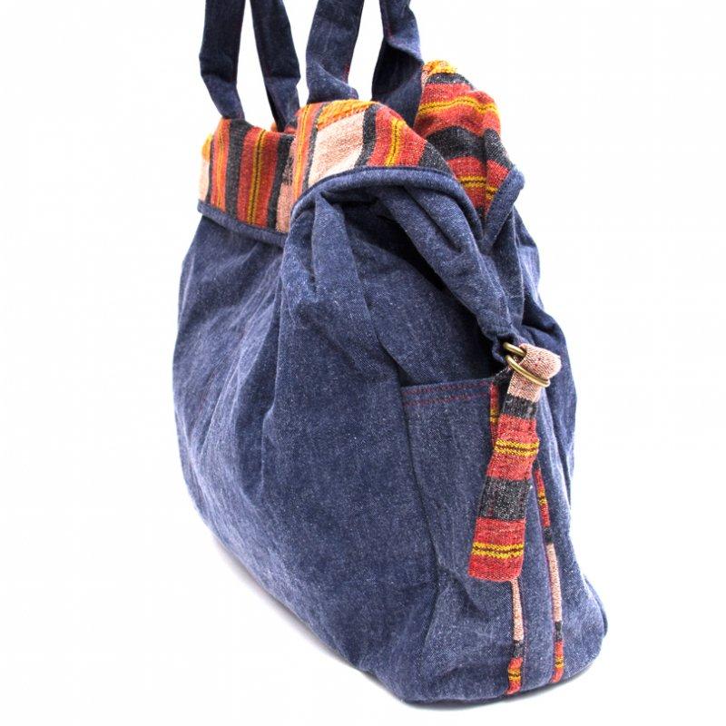 画像2:THANGEN ナガ族刺繍のデニムショルダーバッグ Type.3