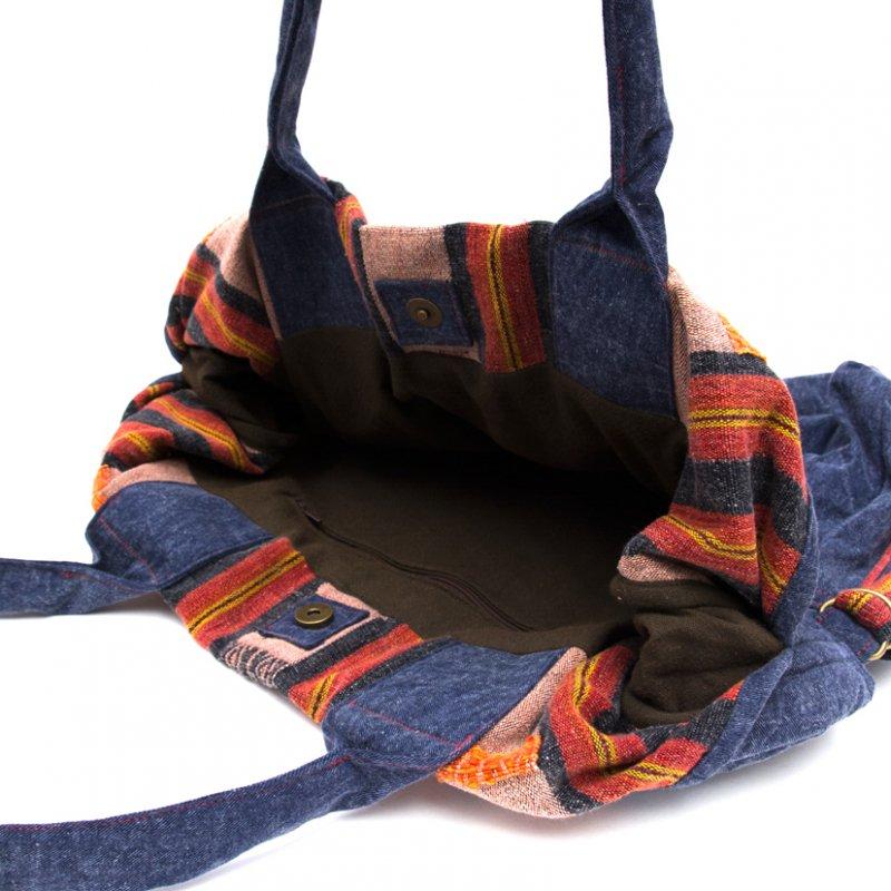 画像4:THANGEN ナガ族刺繍のデニムショルダーバッグ Type.3