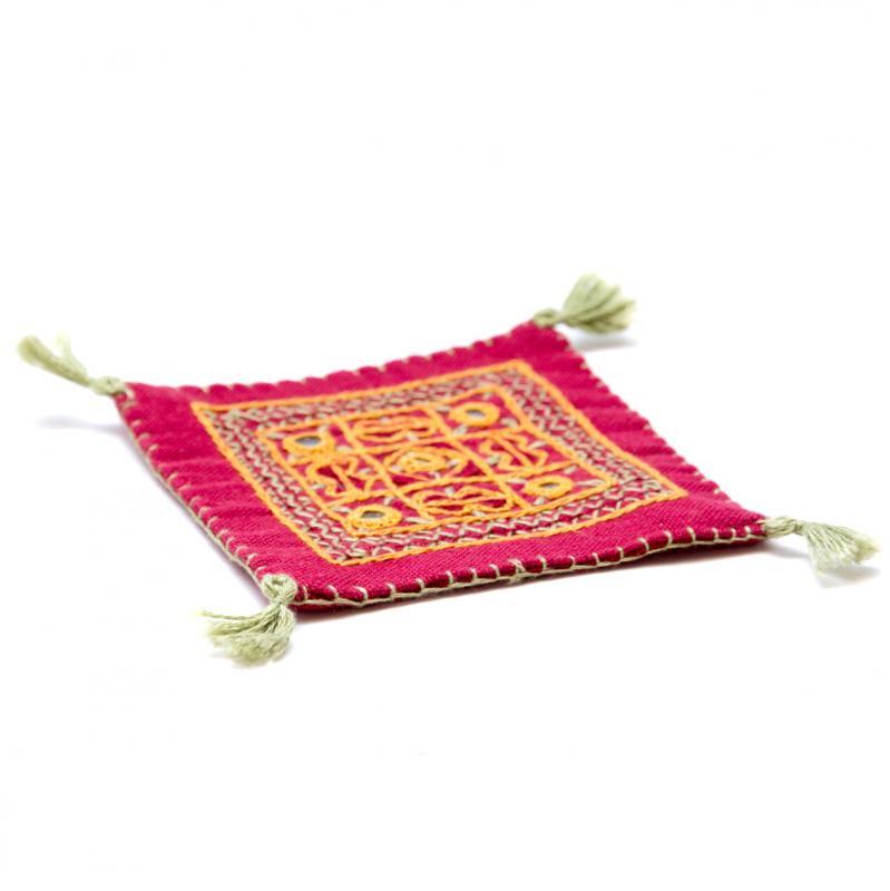 画像2:インドのミラーワーク刺繍コースター(パープル)