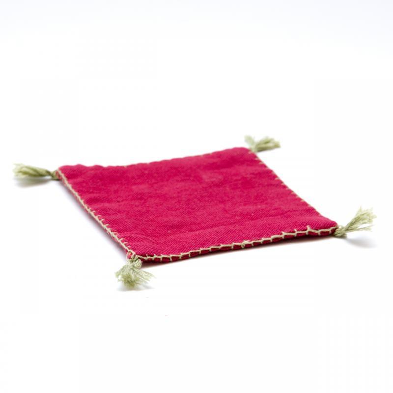 画像3:インドのミラーワーク刺繍コースター(パープル)