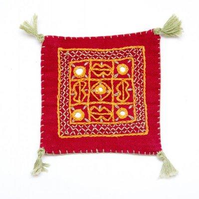インドのミラーワーク刺繍コースター(パープル)