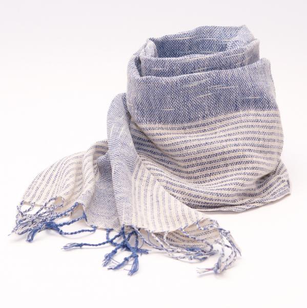 ラオ族手織りのコットンストール(ストライプ&ブルー)