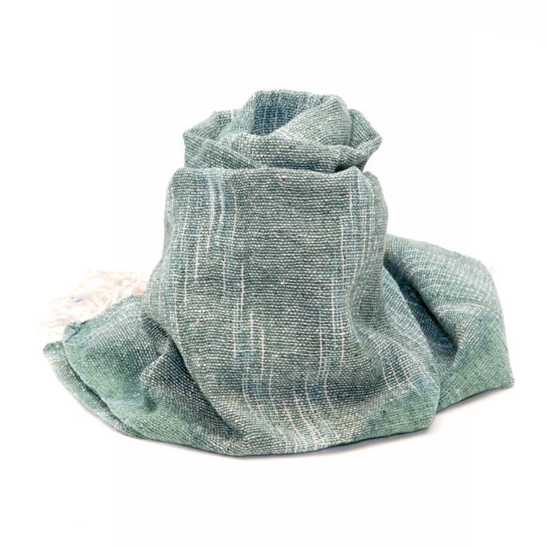 画像2:ラオ族手織りのコットンストール(グリーン)