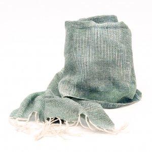 ラオ族手織りのコットンストール(グリーン)