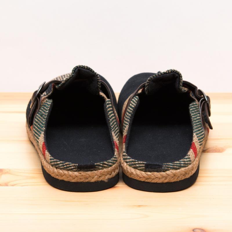画像3:ナガ族刺繍のサボサンダル(ブラック)/室内外兼用スリッパ