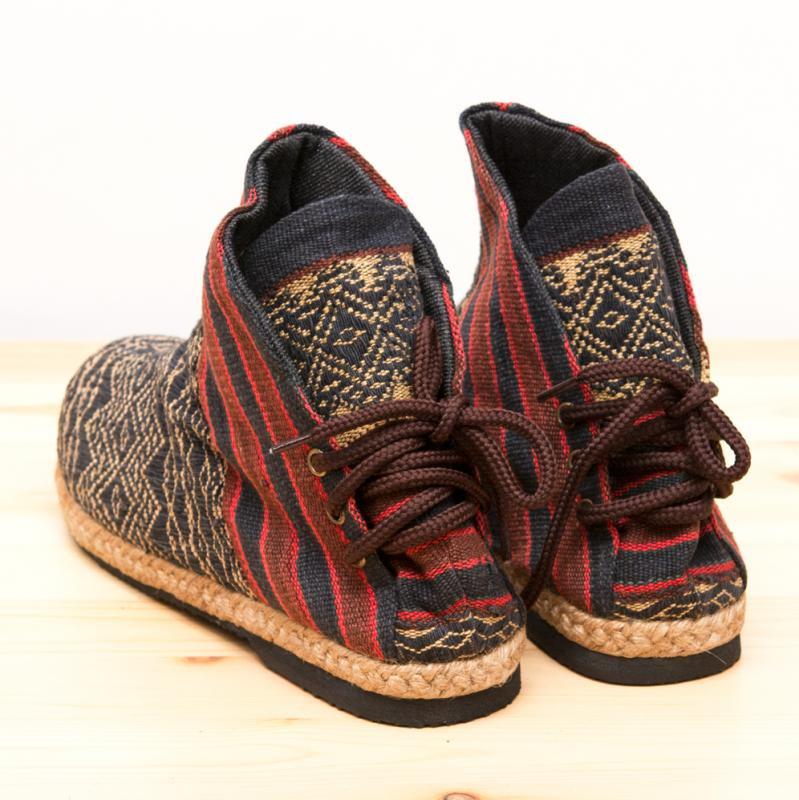 画像2:ナガ族刺繍のハイカットブーツ(レディース)