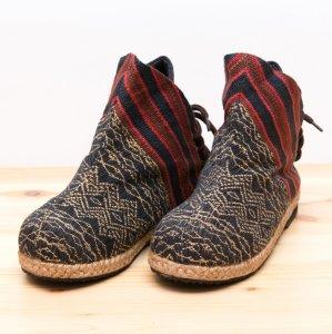 ナガ族手織り布のハイカットブーツ