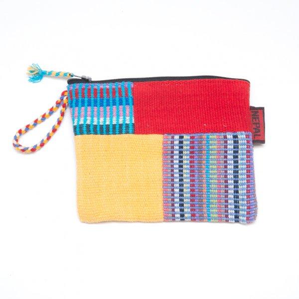 <フェアトレード>WSDO 手織布のカラフルパッチワークポーチS