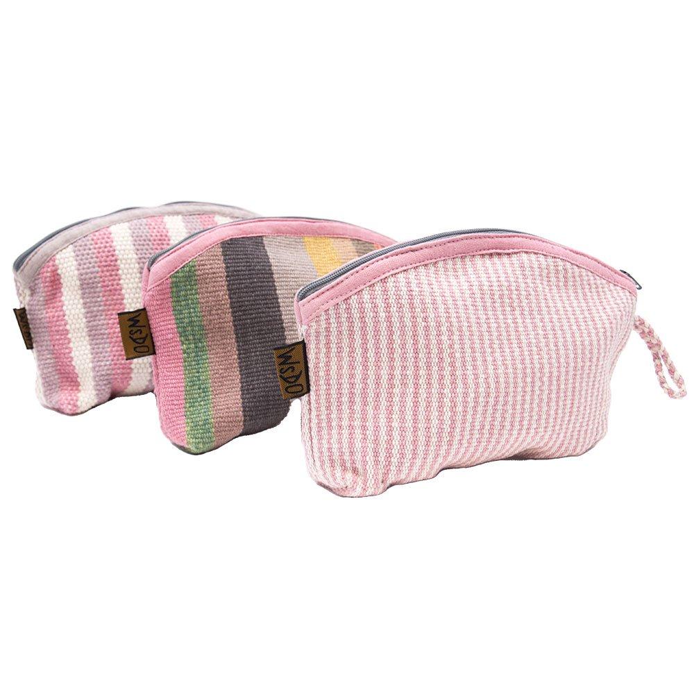 <フェアトレード>WSDO 手織布の草木染めコスメポーチ(半円・ピンク系)