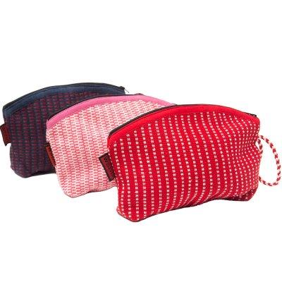 <フェアトレード>WSDO 手織布のカラフルコスメポーチ(半円)Type.1