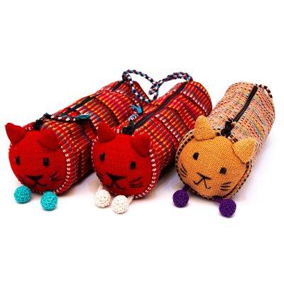 <フェアトレード>WSDO 手織布のアニマルペンケース(猫)