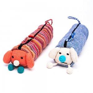 <フェアトレード>WSDO 手織布のアニマルペンケース(しかめっつら犬)