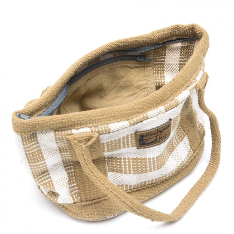 画像3:<フェアトレード>WSDO 手織布の草木染めランチバッグ(カーキ)