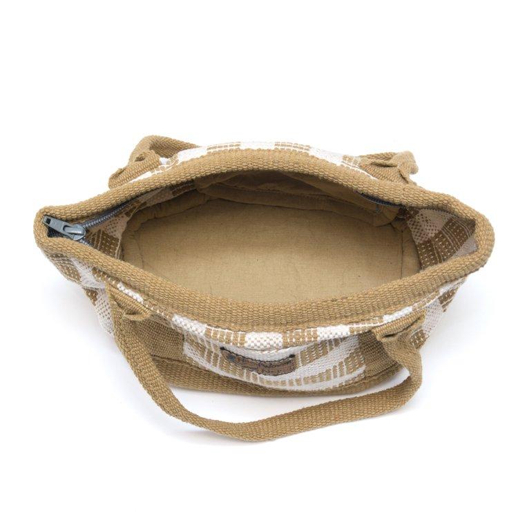 画像4:<フェアトレード>WSDO 手織布の草木染めランチバッグ(カーキ)