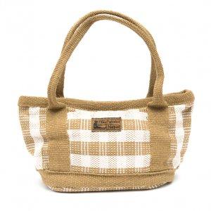 <フェアトレード>WSDO 手織布の草木染めランチバッグ(カーキ)