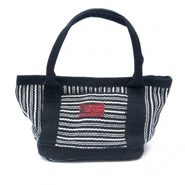 <フェアトレード>WSDO 手織布のランチバッグ(ブラックxストライプ)