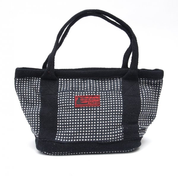 <フェアトレード>WSDO 手織布のランチバッグ(ブラックxチェック)