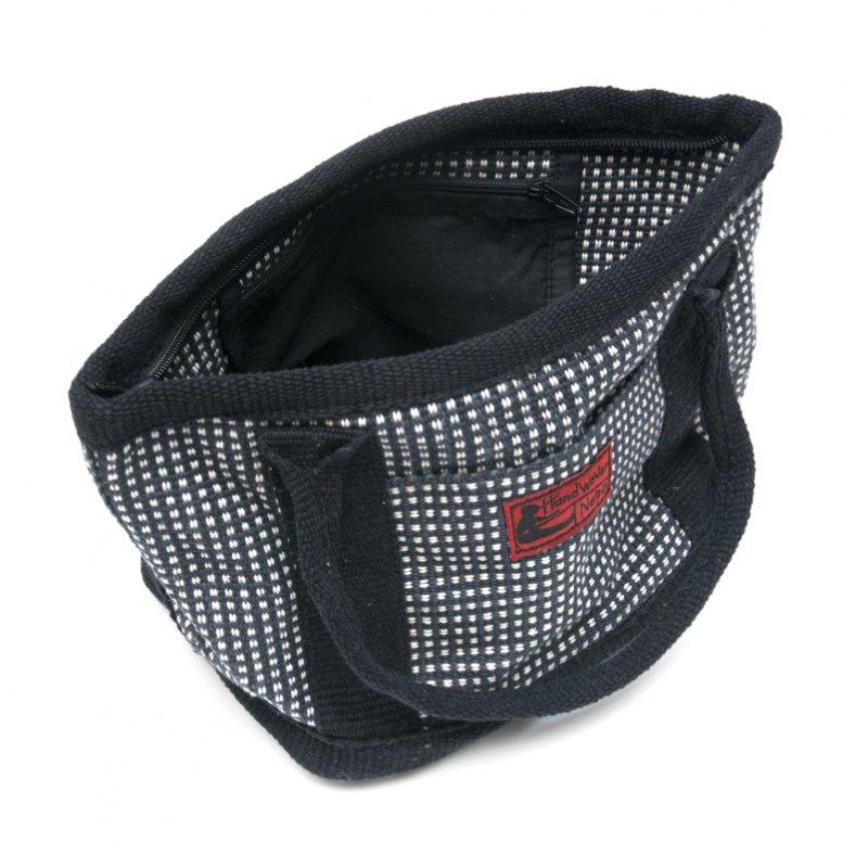 画像3:<フェアトレード>WSDO 手織布のランチバッグ(ブラックxチェック)