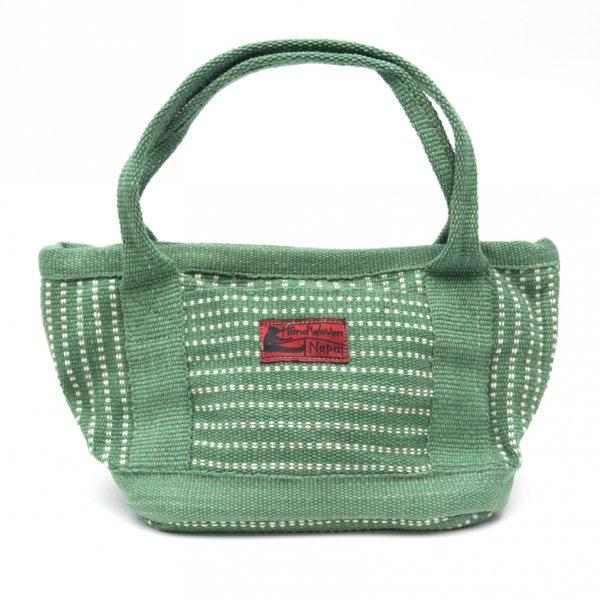 <フェアトレード>WSDO 手織布のランチバッグ(グリーン)