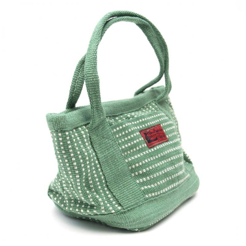 画像2:<フェアトレード>WSDO 手織布のランチバッグ(グリーン)