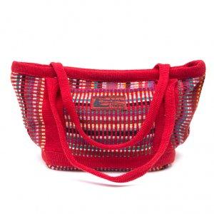 <フェアトレード>WSDO 手織布のランチバッグ(レッド)