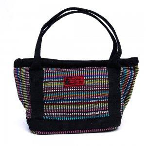 <フェアトレード>WSDO 手織布のランチバッグ(ブラック)Type.3