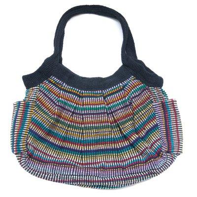<フェアトレード>WSDO 手織布のムーンバッグ(外ポケット付)