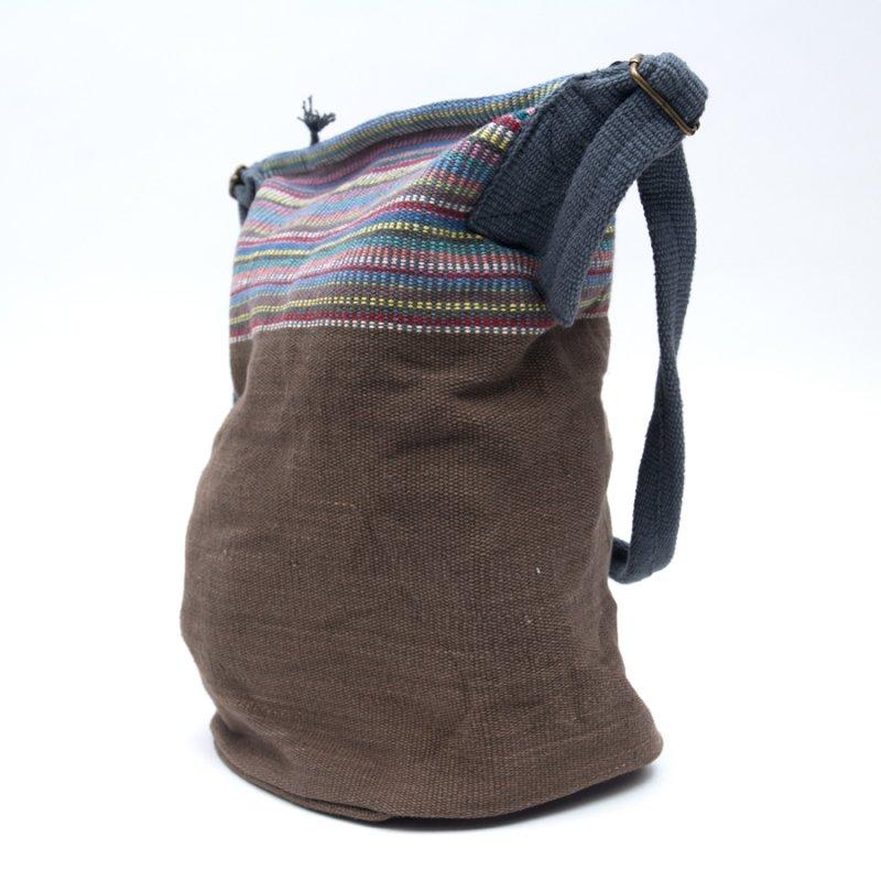 画像3:<フェアトレード>WSDO 手織布のドラム型マザーズバッグ(ブラウン)