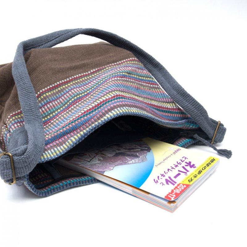 画像4:<フェアトレード>WSDO 手織布のドラム型マザーズバッグ(ブラウン)