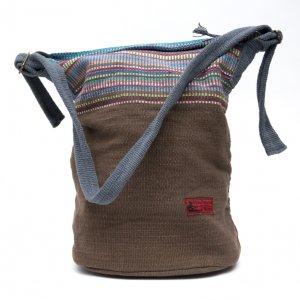 <フェアトレード>WSDO 手織布のドラム型マザーズバッグ(ブラウン)