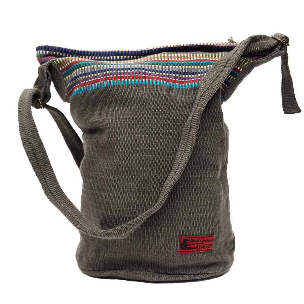 <フェアトレード>WSDO 手織布のドラム型マザーズバッグ(チャコールグレー)