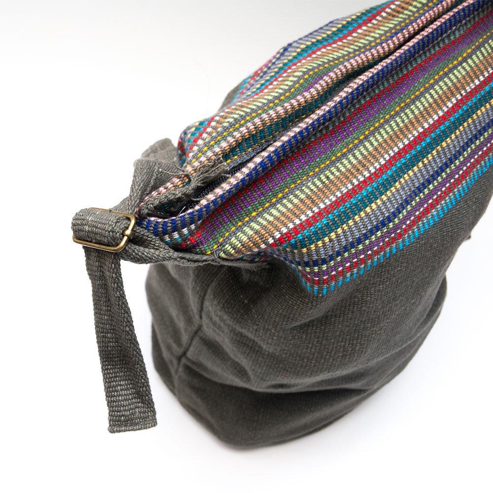 画像2:<フェアトレード>WSDO 手織布のドラム型マザーズバッグ(チャコールグレー)