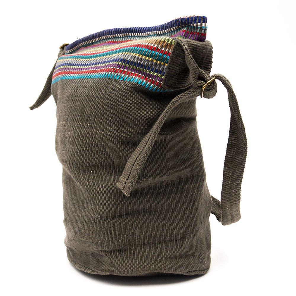 画像3:<フェアトレード>WSDO 手織布のドラム型マザーズバッグ(チャコールグレー)