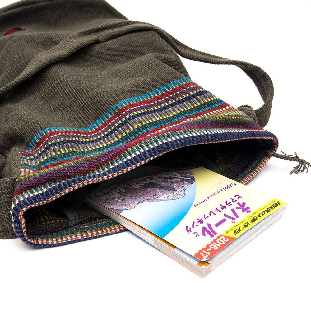 画像4:<フェアトレード>WSDO 手織布のドラム型マザーズバッグ(チャコールグレー)