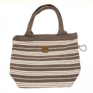 <フェアトレード>WSDO 手織布の草木染めトートバッグ(チャコールグレー)