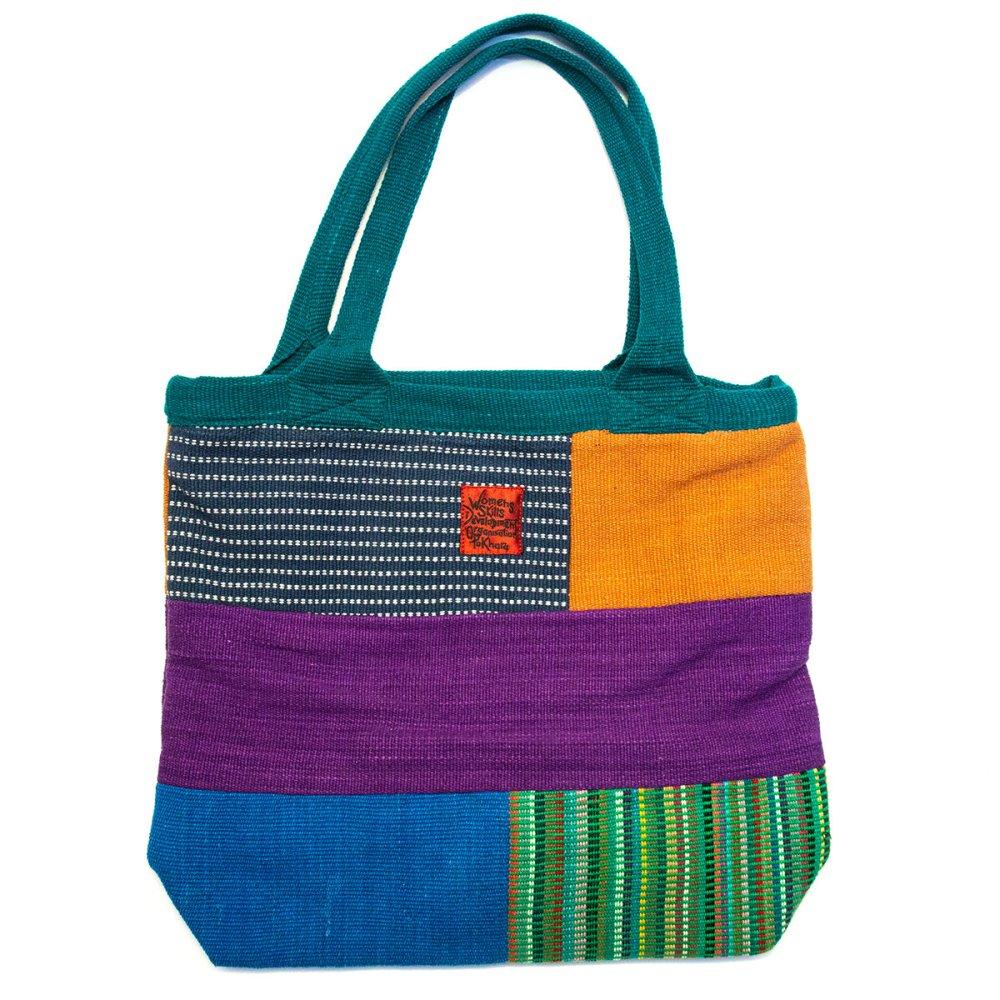 <フェアトレード>WSDO 手織布の大判カラフルトートバッグ(グリーン)