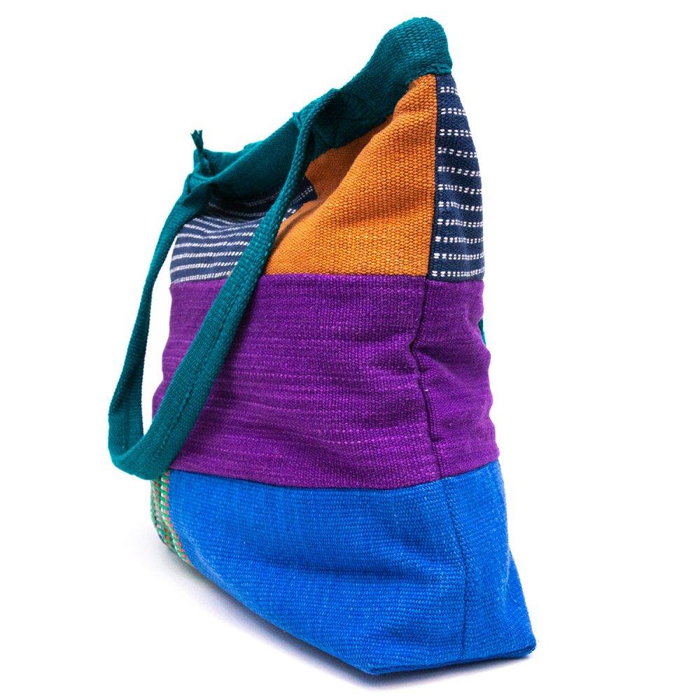 画像2:<フェアトレード>WSDO 手織布の大判カラフルトートバッグ(グリーン)