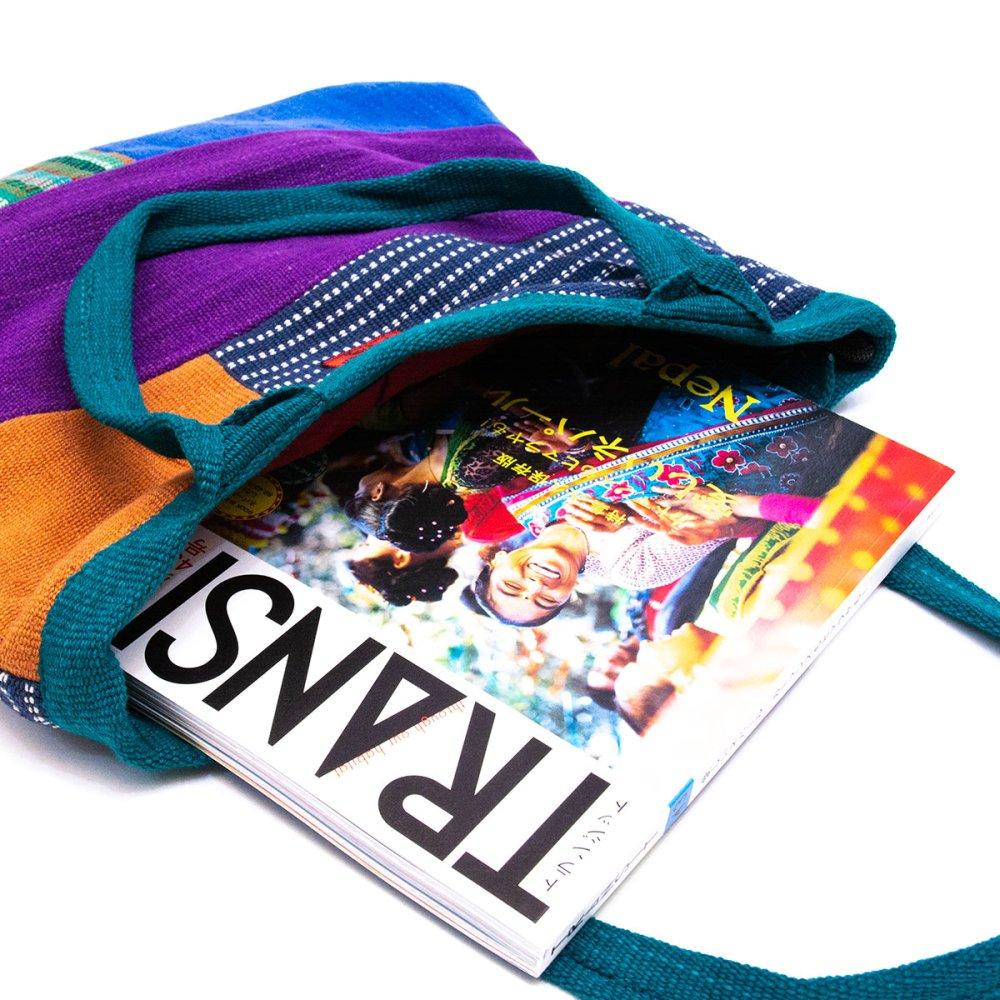 画像3:<フェアトレード>WSDO 手織布の大判カラフルトートバッグ(グリーン)