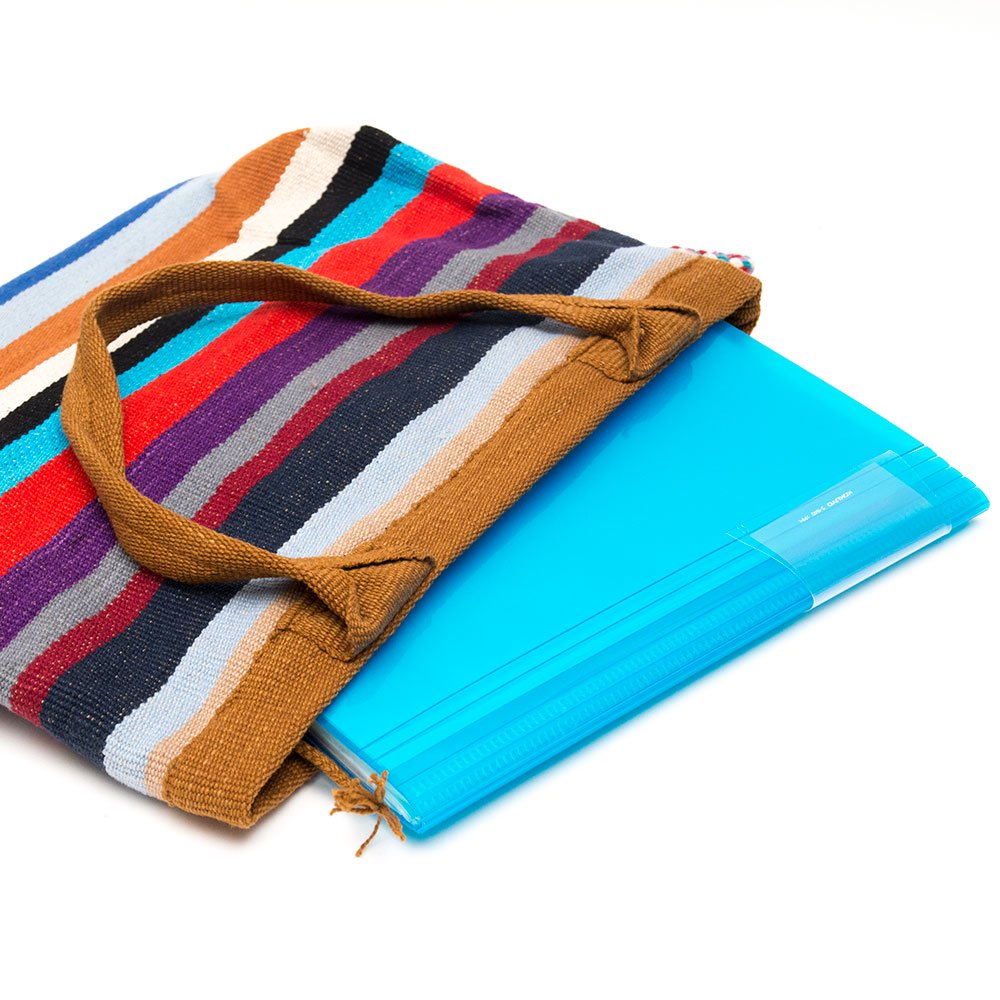 <フェアトレード>WSDO 手織布の大判カラフルトートバッグ(ブラウン)